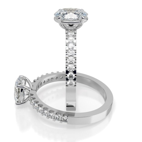 Oval Shoulder Diamond Ring - HRXSD647 - 360 animation