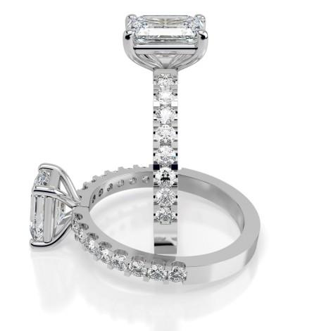 Emerald Shoulder Diamond Ring - HRXSD650 - 360 animation