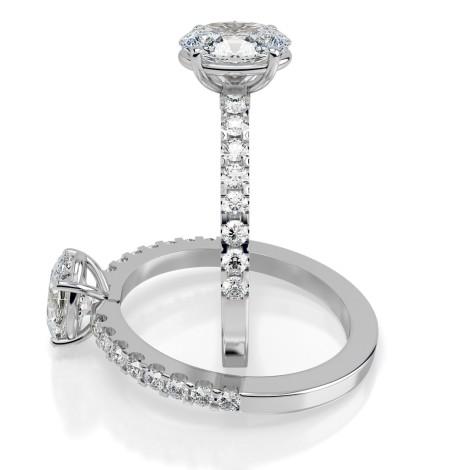 Oval Shoulder Diamond Ring - HRXSD651 - 360 animation