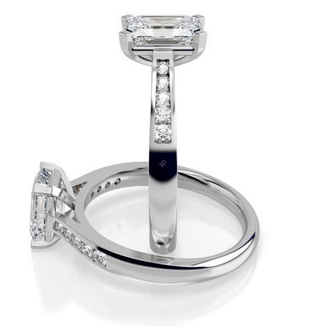 Emerald Shoulder Diamond Ring - HRXSD655 - 360 animation