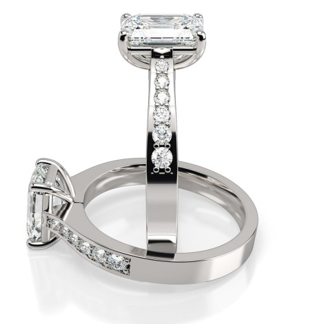 Emerald cut Diamond Ring with Grain Set Accent Stones - HRXSD670 - 360 animation