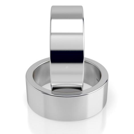 Flat Wedding Ring - 7mm width, Medium depth - HWNA717 - 360 animation