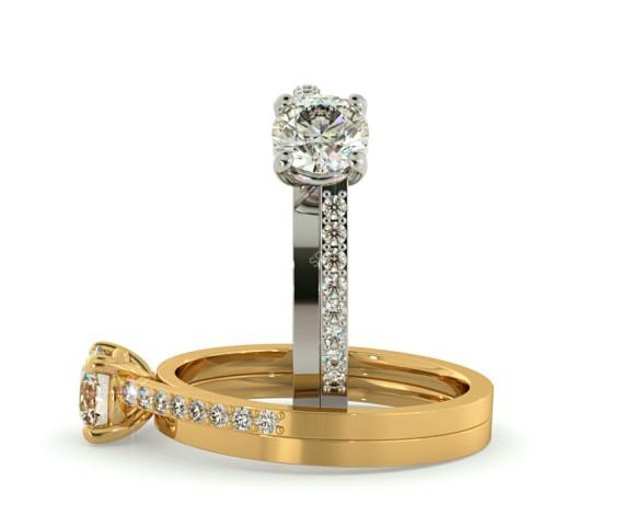 Designer Round brilliant cut Shoulder Diamond Ring 0.40ct to 0.60ct - BespokeRN1907 - 360 animation
