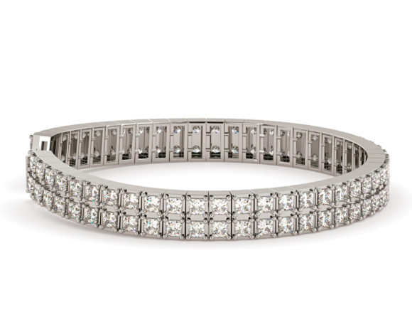 STEFFI Doubles Princess cut Tennis Bracelet - HBP007 - 360 animation