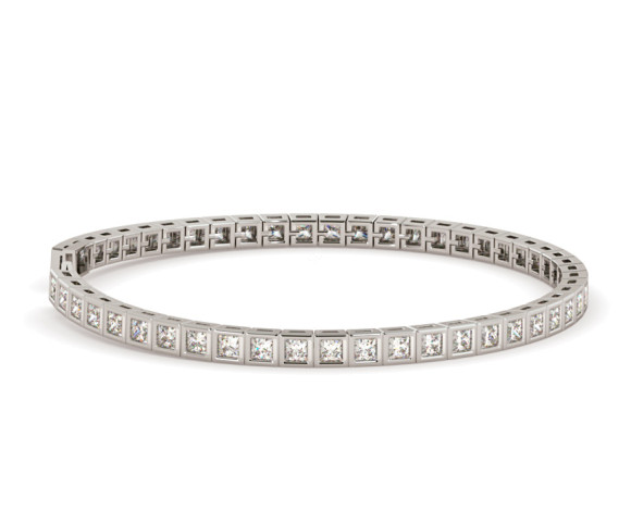 DAVENPORT Bezel set Princess cut Single Line Bracelet - HBP008 - 360 animation