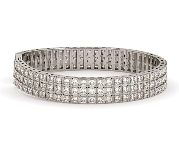 IVANOVIC Triple Row Princess cut Tennis Diamond Bracelet - HBP011 - 360 animation