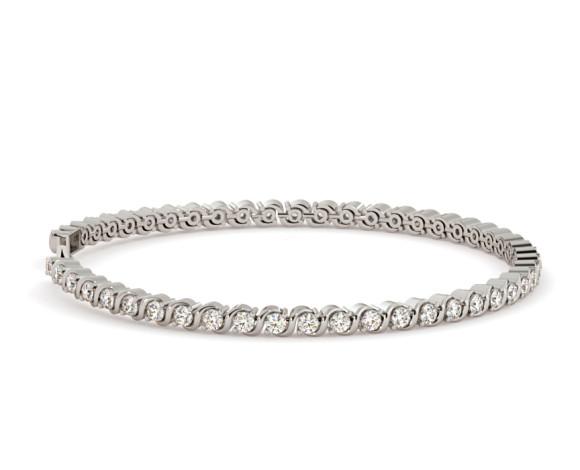 SHARAPOVA S link Round cut Diamond Line Bracelet - HBR002 - 360 animation