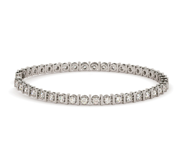 KOURNIKOVA Barred Round cut Bezel set Single Line Diamond Bracelet - HBR005 - 360 animation
