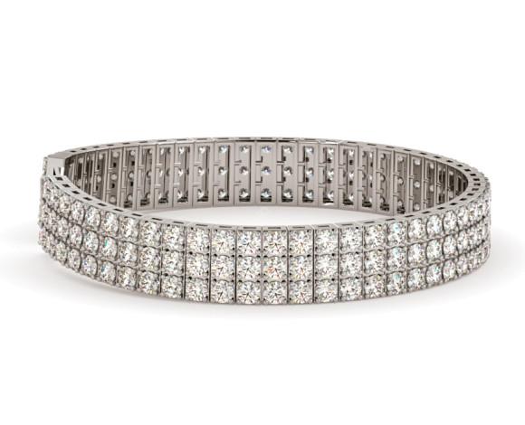 MONICA Triple Row Round cut Tennis Diamond Bracelet - HBR010 - 360 animation