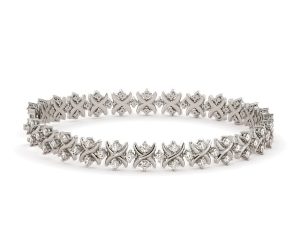 CAROLINE Round cut Crosscourt Tennis Diamond Bracelet - HBR015 - 360 animation