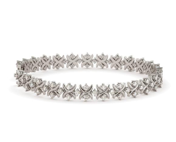 CAROLINE Round cut Crosscourt Tennis Diamond Bracelet - HBR015 - 360 animation