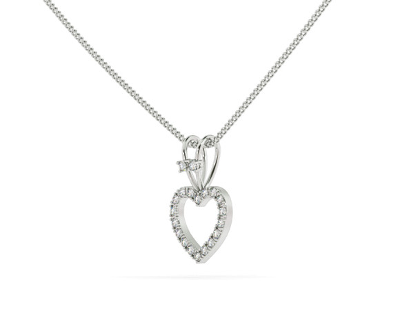 Round Heart Shape Diamond Pendant - HPR17 - 360 animation