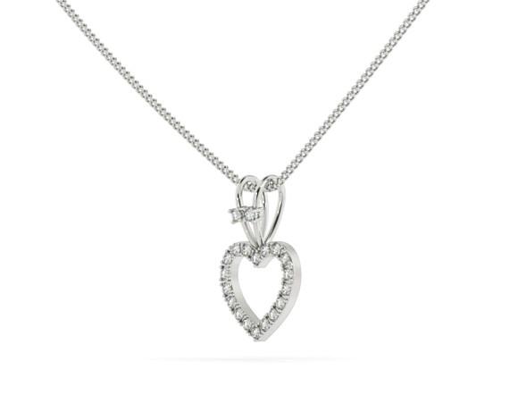 Round Heart Shape Diamond Pendant - HPR17 - 360 animation