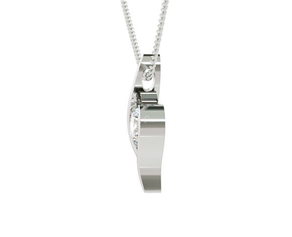 Round Solitaire Diamond Pendant - HPR1 - 360 animation