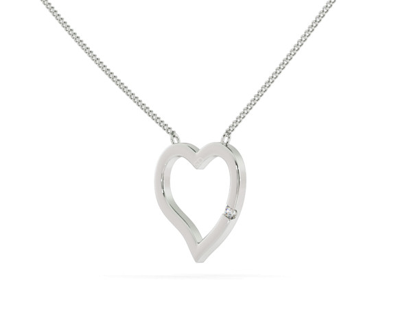 Round Heart Shape Diamond Pendant - HPR20 - 360 animation
