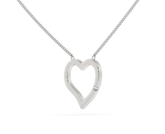 Round Heart Shape Diamond Pendant - HPR20 - 360 animation