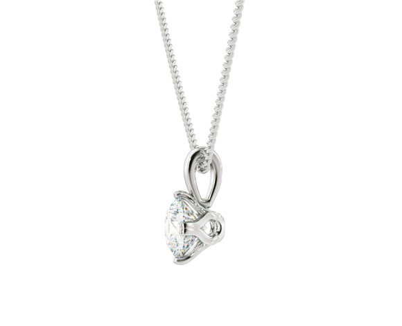 Round Solitaire Pendant - HPR39 - 360 animation