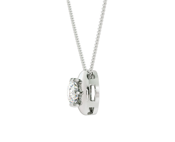 Round Solitaire Diamond Pendant - HPR4 - 360 animation