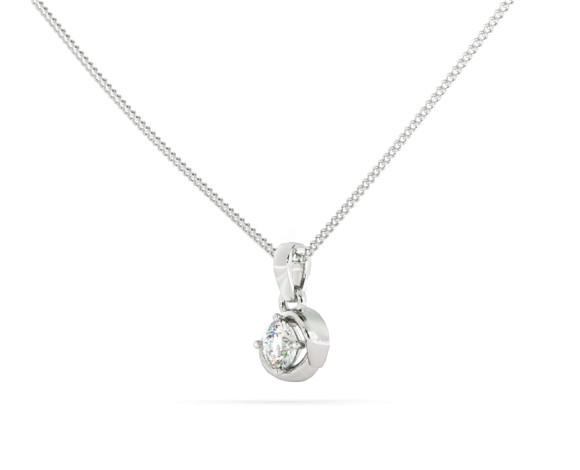 Round Solitaire Pendant - HPR58 - 360 animation