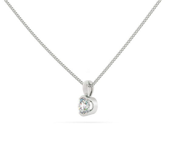 Round Solitaire Pendant - HPR63 - 360 animation