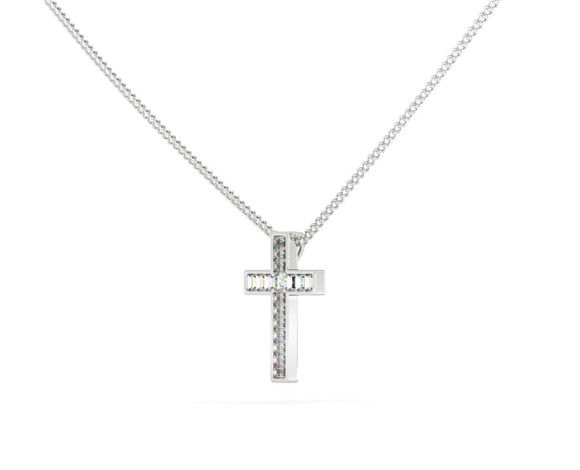 Round Baguette Cross Diamond Pendant - HPX23 - 360 animation