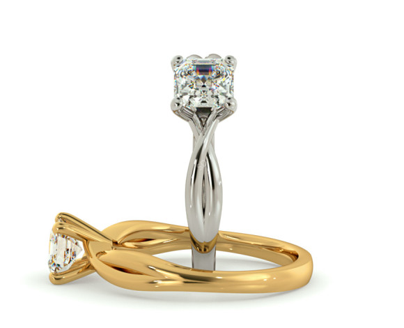 Asccher Cut Infinity Diamond Engagement Ring - HRA1150 - 360 animation