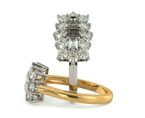 Baguette and Round cut Boat Cluster Diamond Ring - HRBCL887 - 360 animation