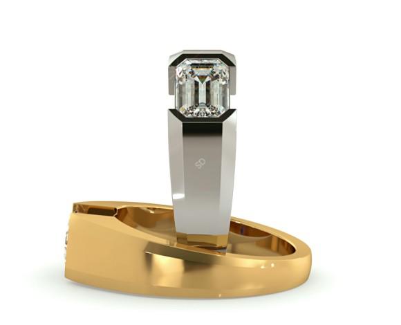 Semi Rubover Setting Emerald cut Solitaire Diamond Ring - HRE300 - 360 animation