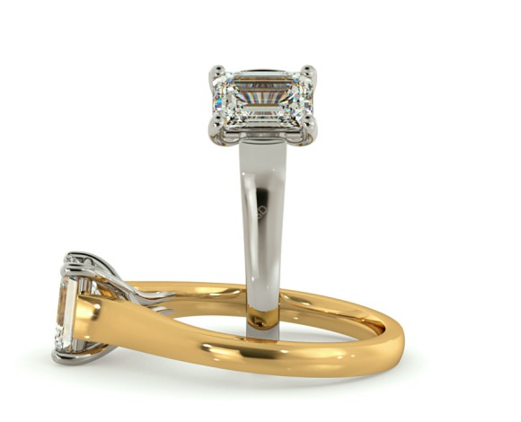 Crossover Setting  Emerald cut Solitaire Diamond Ring - HRE409 - 360 animation
