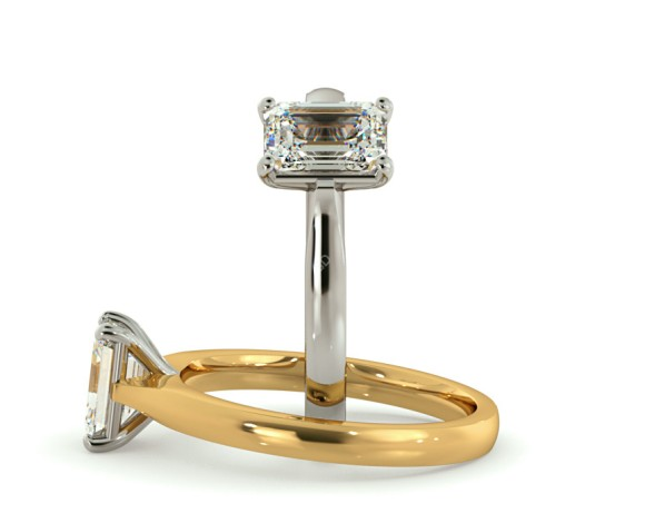 Four Claw Emerald cut Solitaire Diamond Ring - HRE416 - 360 animation