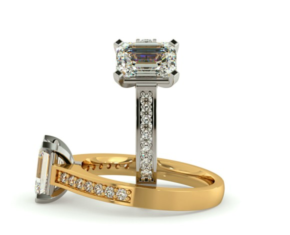 Emerald Shoulder Diamond Ring - HRESD489 - 360 animation