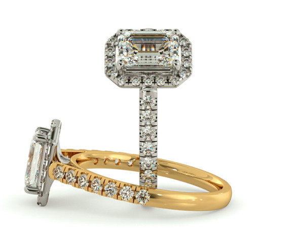 Shoulder set Single Halo Emerald cut Diamond Ring - HRESD689 - 360 animation