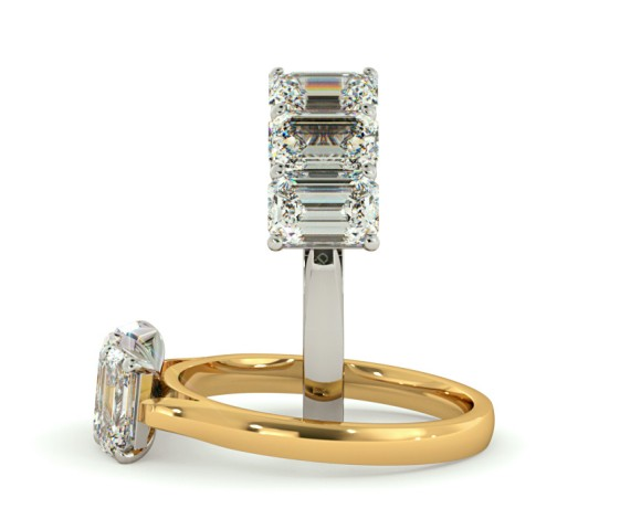 3 Emerald Diamonds Trilogy Ring - HRETR135 - 360 animation