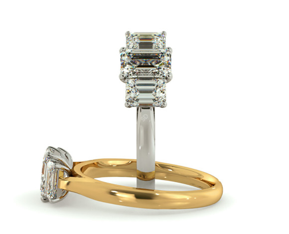 Emerald 3 Stone Diamond Ring - HRETR136 - 360 animation