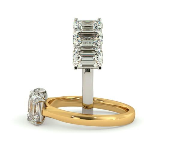 3 Emerald Diamonds Trilogy Ring - HRETR166 - 360 animation