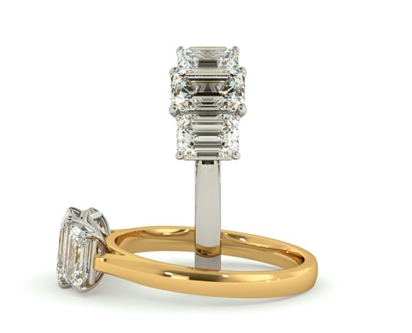 Emerald 3 Stone Diamond Ring - HRETR184 - 360 animation