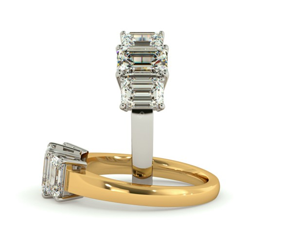 Emerald 3 Stone Diamond Ring - HRETR92 - 360 animation