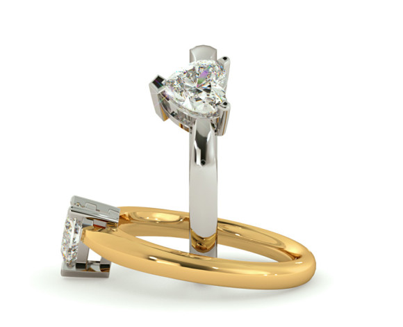 Heart Solitaire Diamond Ring - HRH278 - 360 animation