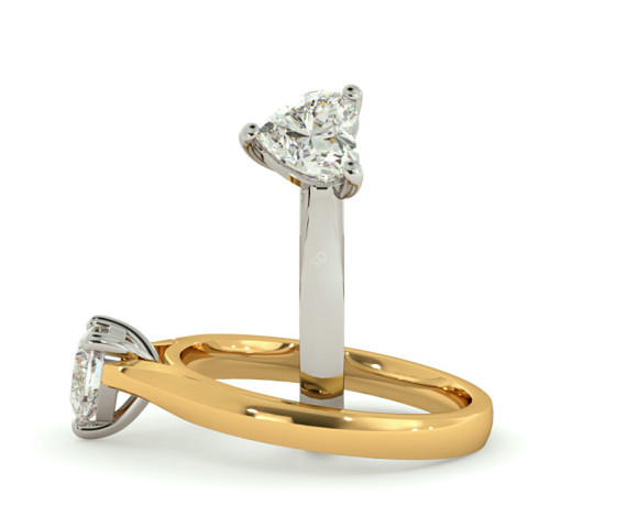 Heart Solitaire Diamond Ring - HRH355 - 360 animation