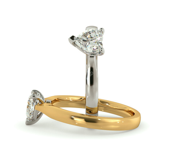 Heart Solitaire Diamond Ring - HRH466 - 360 animation