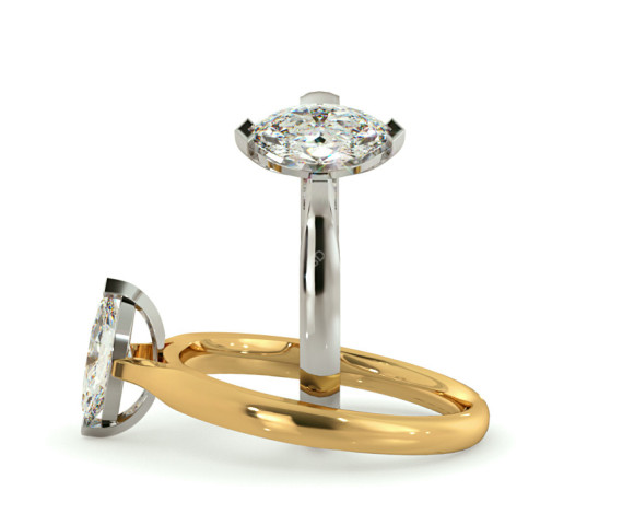 Marquise Solitaire Diamond Ring - HRM346 - 360 animation