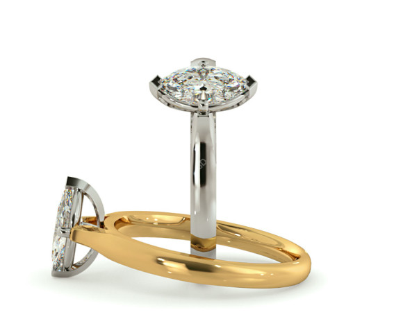 Marquise Solitaire Diamond Ring - HRM438 - 360 animation