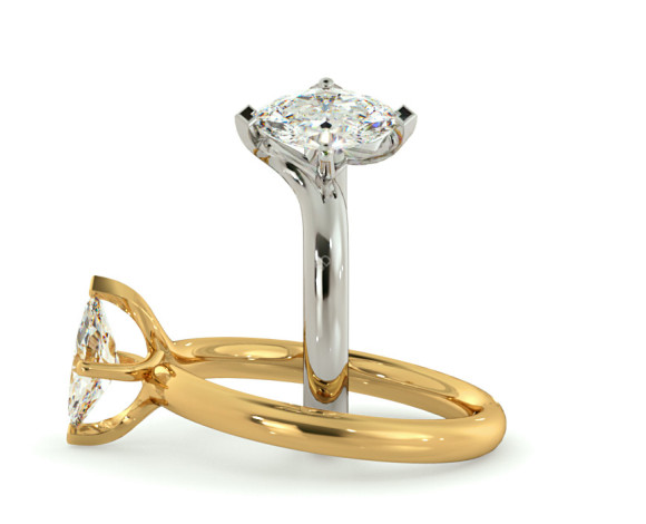 Marquise Solitaire Diamond Ring - HRM555 - 360 animation