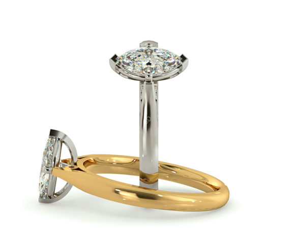 Marquise Solitaire Diamond Ring - HRM566 - 360 animation