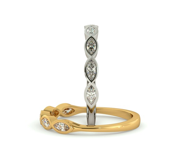 ARA Marquise cut 5 Stone Eternity Diamond Ring - HRMHE744 - 360 animation