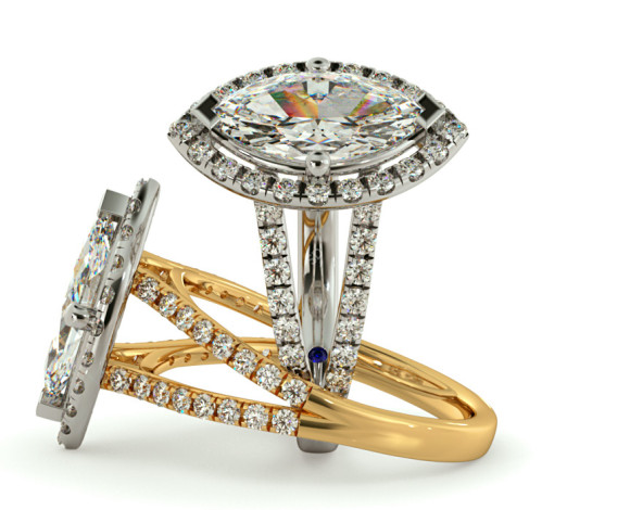 Marquise cut Y Split Band Halo Diamond Ring - HRMSD686 - 360 animation