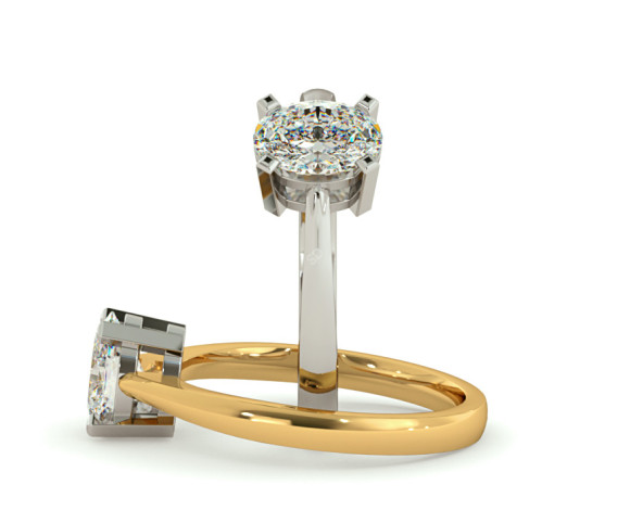 Oval Solitaire Diamond Ring - HR0286 - 360 animation