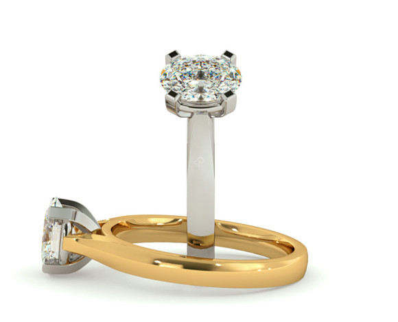 Oval Solitaire Diamond Ring - HRO359 - 360 animation