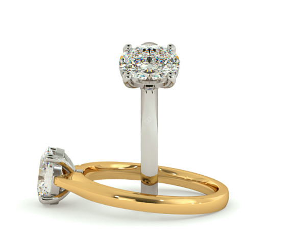 Oval Solitaire Diamond Ring - HRO381 - 360 animation
