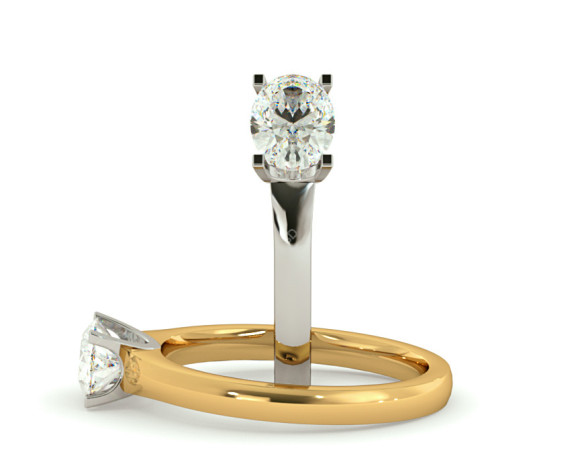 Oval Solitaire Diamond Ring - HRO525 - 360 animation